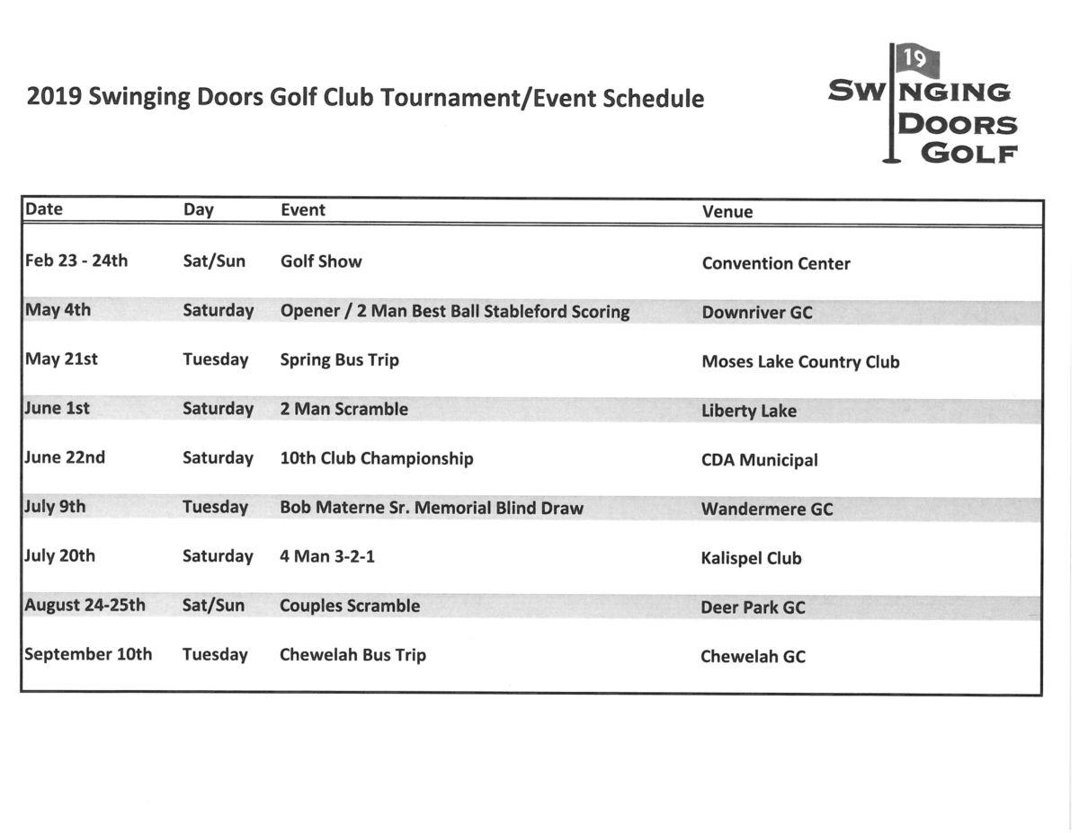 2019 Golf Schedule